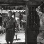 Image from film, Seven Samuri. Main character, Kambei chooses his warriors.